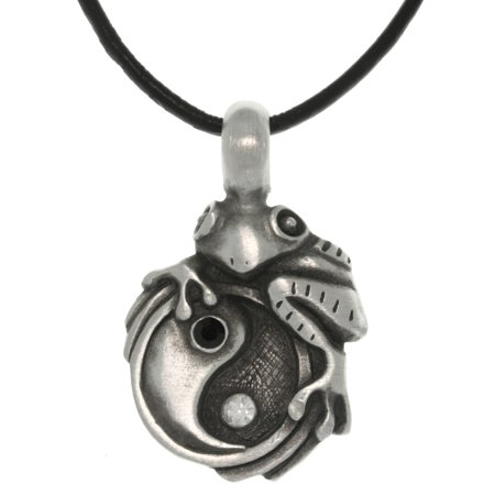 Frog Jewelry (Jewelry Trends Pewter Frog on Yin Yang Pendant with 18 Inch Black Leather Cord Necklace )