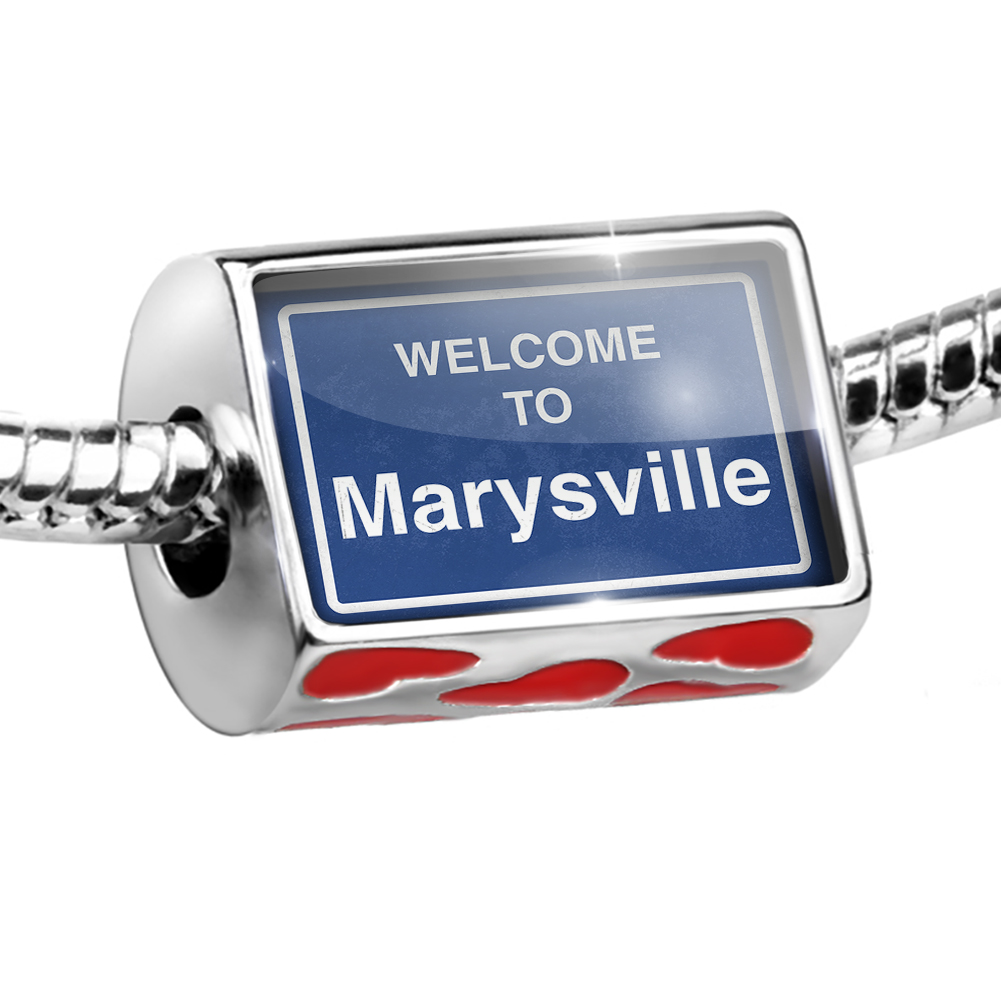 Bead Sign Welcome To Marysville Charm Fits All European Bracelets