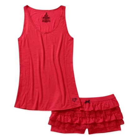 Valentines  Womens Red Rhumba Shorts & Tank Pajama Set Ruffle Pajamas - Valentines Pajamas