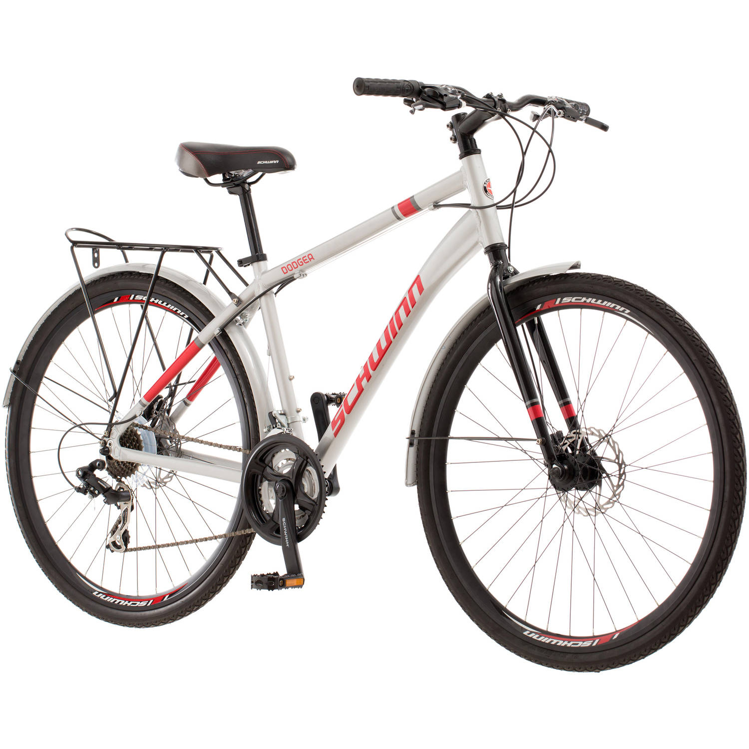 700C Men's Schwinn Dodger Hybrid Bike, Silver by Pacific Cycle