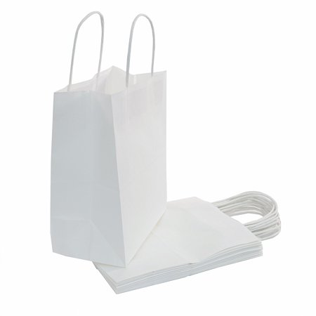 White Paper Gift Bag, (10x8x4.75in), 50ct](Paper Gift Bags Bulk)