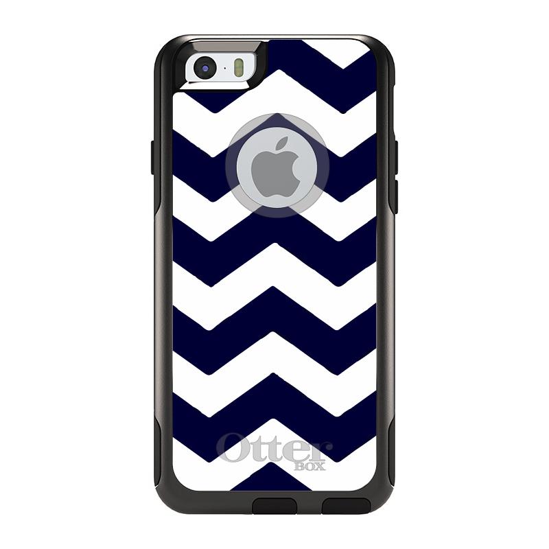 "DistinctInk™ Custom Black OtterBox Commuter Series Case for Apple iPhone 6 Plus / 6S Plus (5.5"" Screen) - Navy Blue White Chevron Stripes"