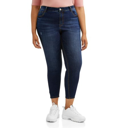 Wax Jean Juniors' Plus Size High Waisted Skinny Cropped -