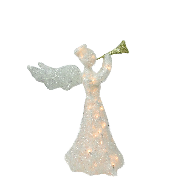 "29"" Lighted Glittered Trumpeting Angel Sisal Christmas Yard Art Decoration"