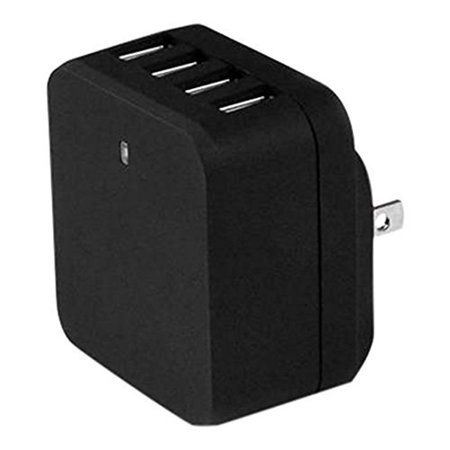 Startech USB4PACBK 4 Port USB Wall Charger  International Travel  34W/6.8A  Black