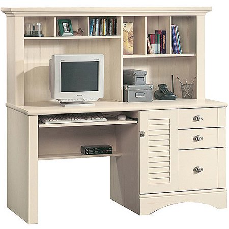 Sauder Harbor View Computer Desk with Hutch, Antiqued White - Sauder Harbor View Computer Desk With Hutch, Antiqued White