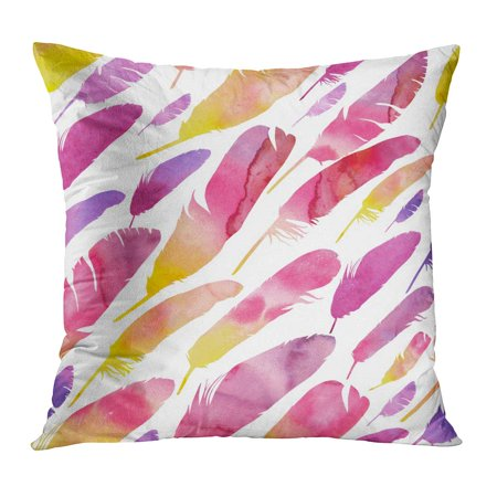 ECCOT Pink Bird Watercolor Feathers Colorful Pattern Multi Colored on Simple Purple Colors Contour Contrasting Pillow Case Pillow Cover 20x20 -