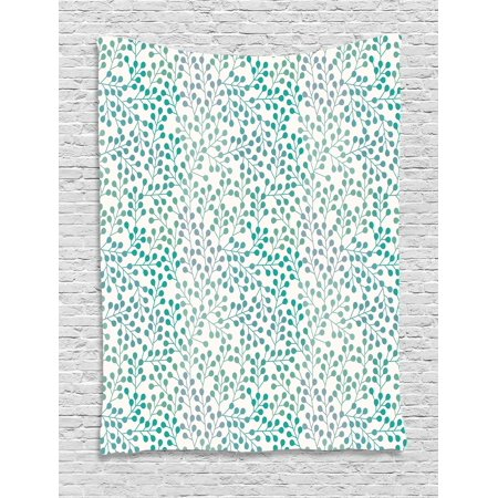 Leaves Tapestry, Flowering Branches Gentle Spring Season Little Buds Romantic Cottage Ornament, Wall Hanging for Bedroom Living Room Dorm Decor, 40W X 60L Inches, Teal Grey Cream, by (Romantic Country Cottages)