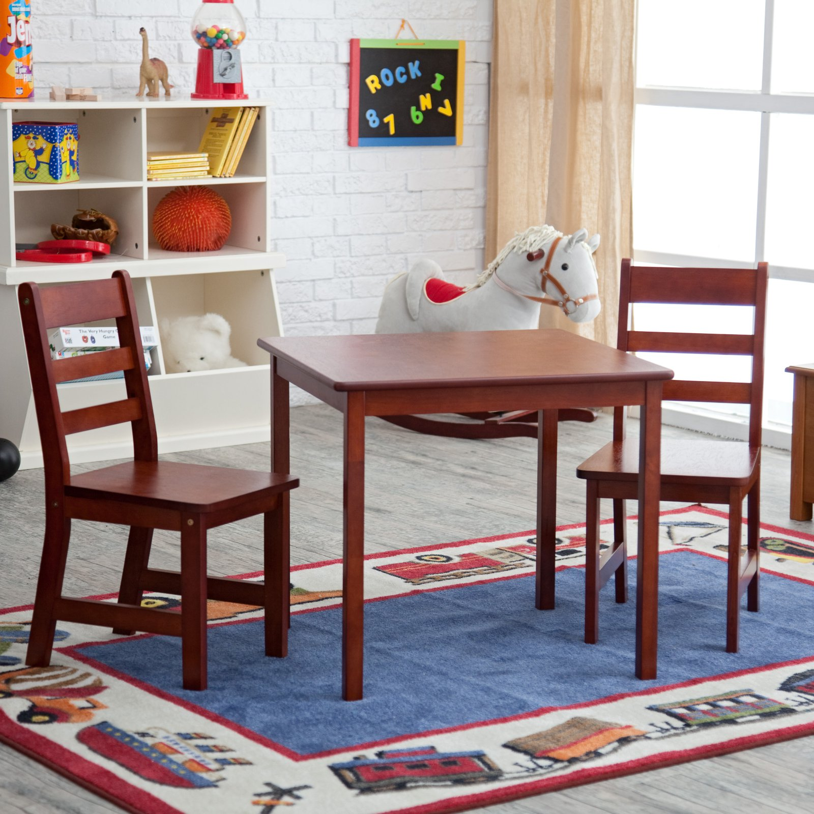 Lipper Child\'s Square Table & Chairs 3-Piece Set, Multiple Colors ...