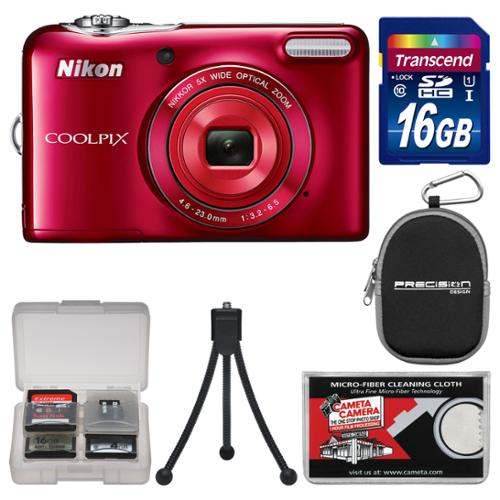 Nikon Coolpix L32 Digital Camera (Red) with 16GB Card + Case + Flex Tripod + Accessory Kit