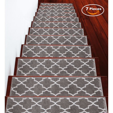 Stair Treads 9 inch by 28 inch by sussexhome Trellisville Collection Trellis Design Vibrant and Soft Stair Treads, Gray & White, Pack of 7 [100% (Soft Tread)