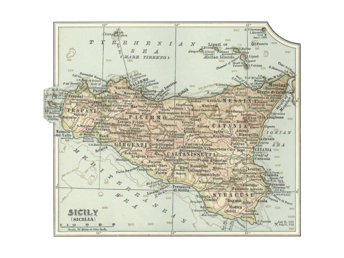 graphic relating to Printable Map of Sicily identify Plate 32. Inset Map of Sicily (Sicilia). Italy Print Wall Artwork As a result of Encyclopaedia Britannica