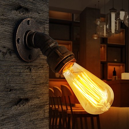 Vintage Industrial Antique Water Pipe Shape Wall Lamp Sconce Light Fixture