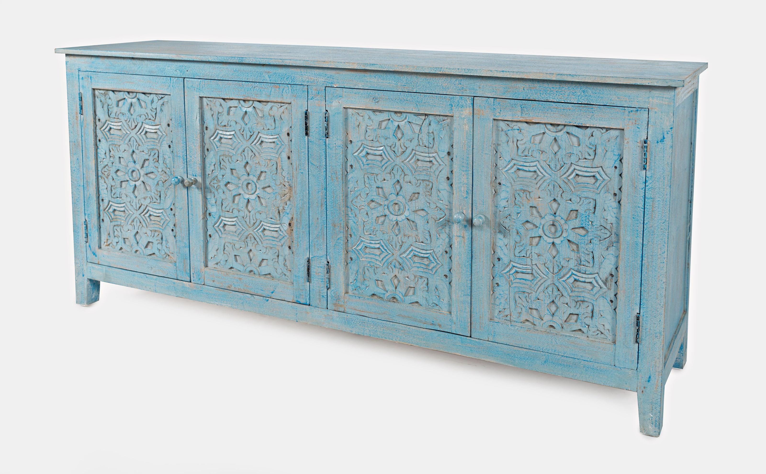 Chloe 4 Door Accent Cabinet, Distressed Blue - Walmart.com