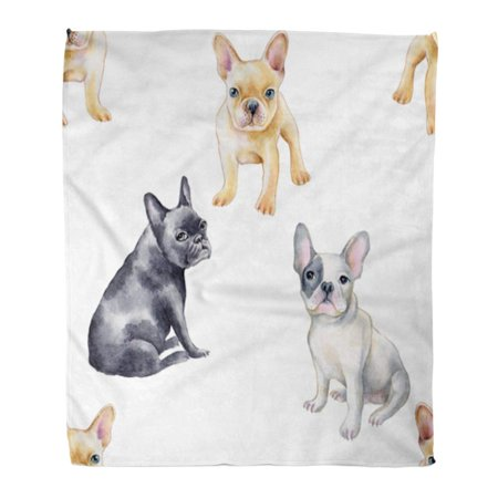 LADDKE Throw Blanket Warm Cozy Print Flannel Blue Dog Watercolor of French Bulldog Pet Puppy Green Water Comfortable Soft for Bed Sofa and Couch 50x60 Inches ()