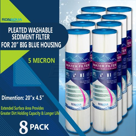 "Big Blue Pleated Washable & Reusable Sediment Filter 5 Micron Amplified Surface Area, Removes Sand, Dirt, Silt, Rust, Extended Filter Life for 20"" Big Blue Housing, by Ronaqua (Set of 8)"
