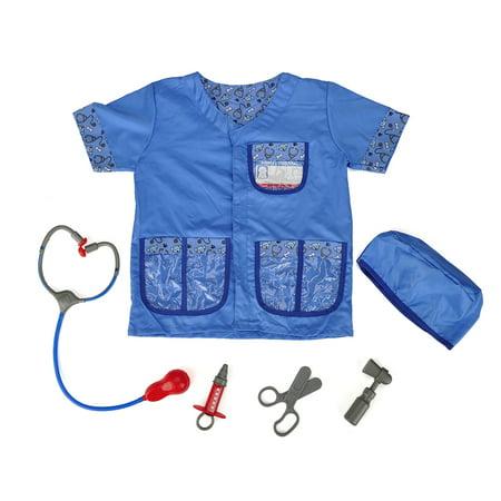 TopTie Kid's Veterinarian Costumes Set Little Pet Vet Toddler Costume-Blue-S - Vet Costume