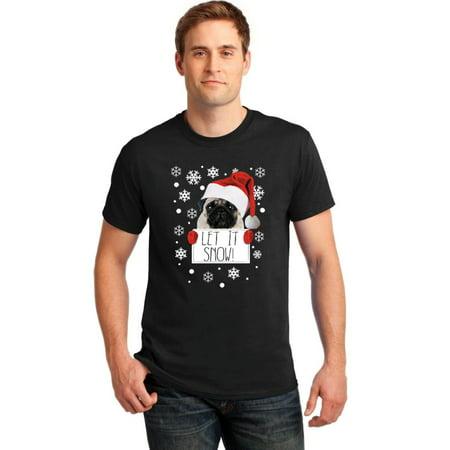 Pug Santa Let It Snow Dog Lovers Christmas Men's T-shirt, L, Black