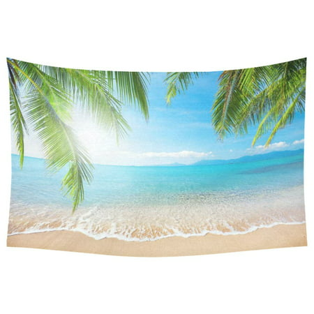 PHFZK Bule Sea Home Decor Wall Art, Tropical Beach Palm Tree Tapestry Wall Hanging 40 X 60 Inches