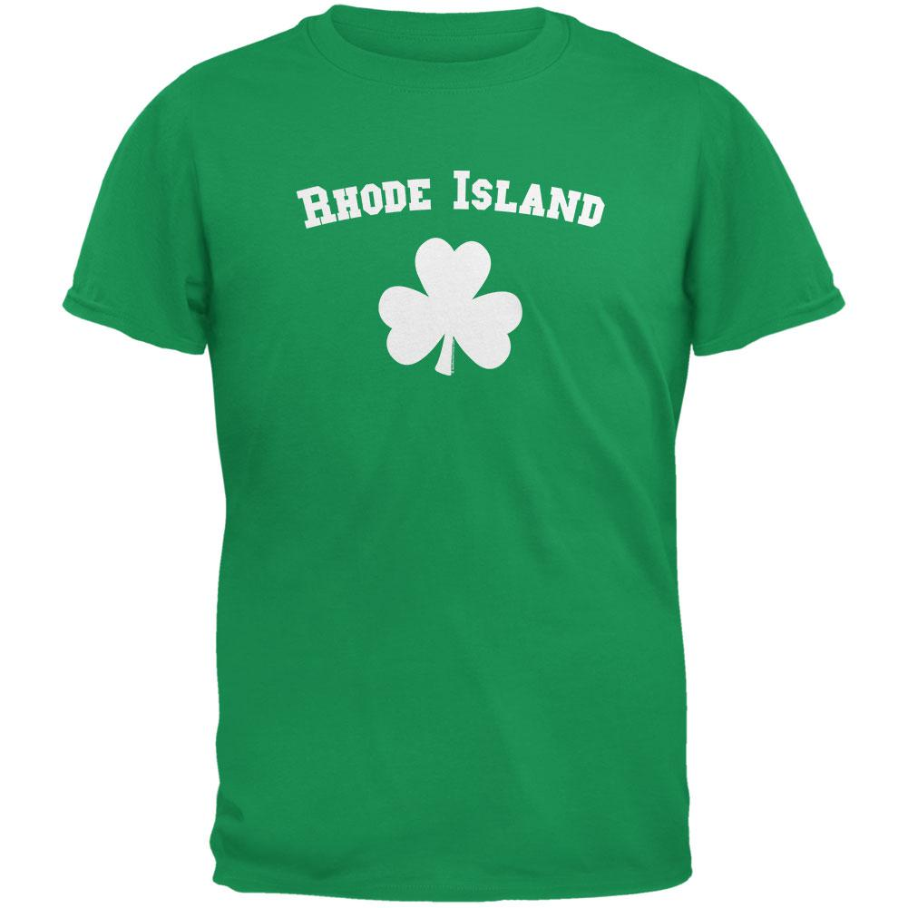 St. Patrick's Day - Rhode Island Shamrock Irish Green Adult T-Shirt