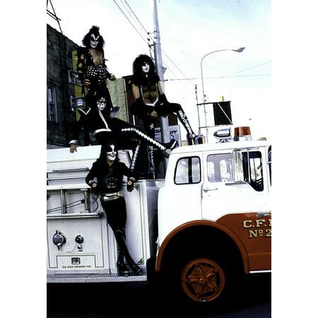 KISS on a fire engine Photo Print (Kiss Group Photo)