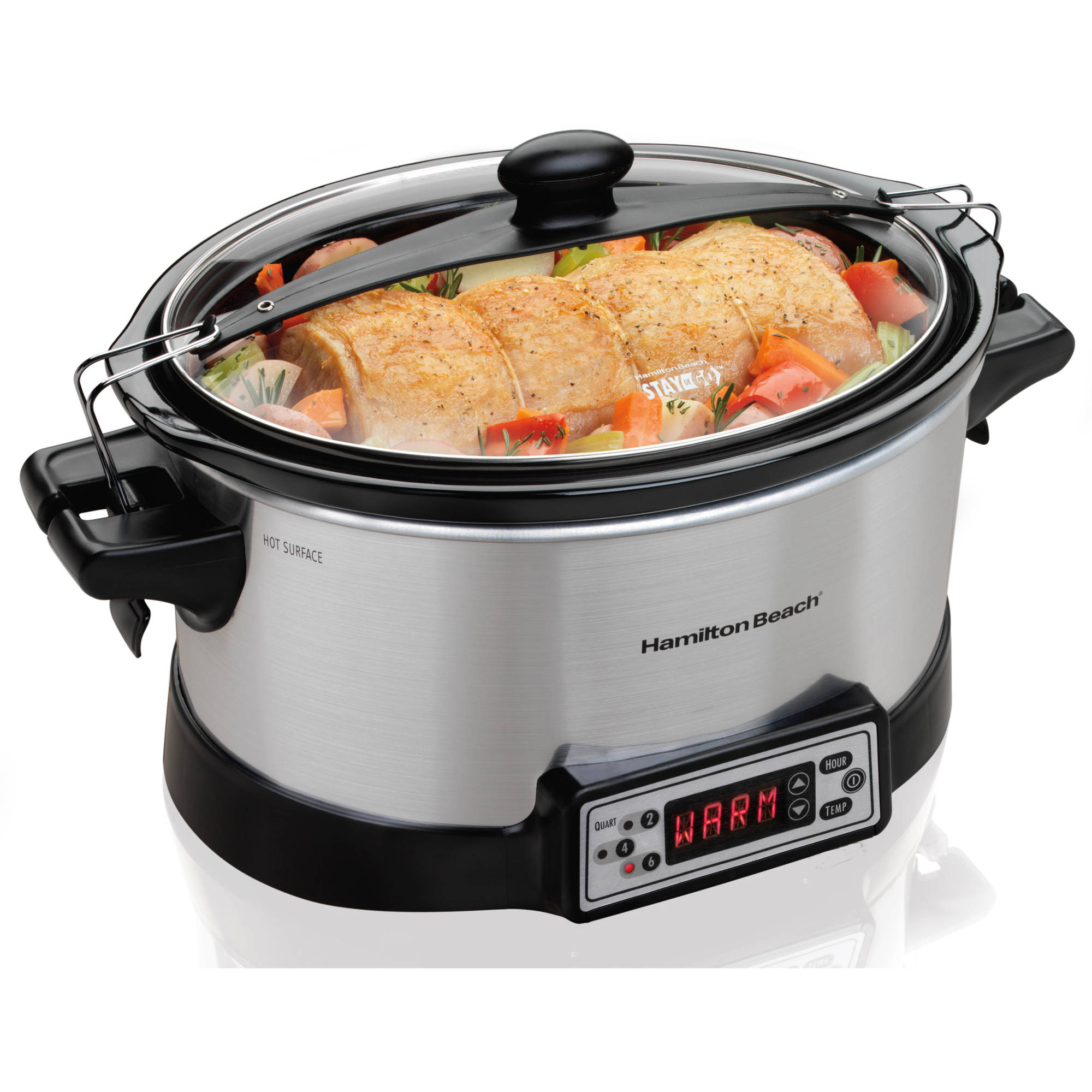 Hamilton Beach 6 Quart Programmable Right Size Slow Cooker with a Stainless Wrap