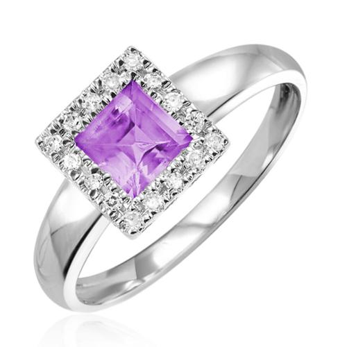 RNB 10k White Gold Amethyst with Diamond Accents Ring (Size 6.5)