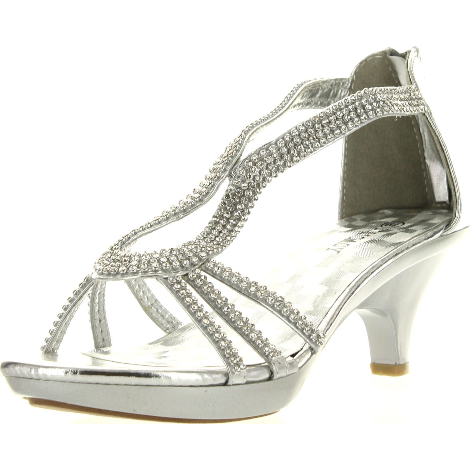 Delicacy Angel 36 Women Dress Sandals Rhinestone Platform Pumps Wedding Bridal Low Heel Shoes