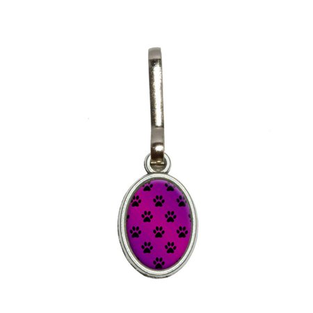 Paw Prints on Parade Purple Oval Zipper Pull (Printed Zipper)