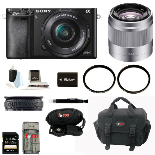 Sony Alpha A6000 Mirrorless Digital Camera w/ 16-50mm + 50mm Lenses w/ 32GB Kit