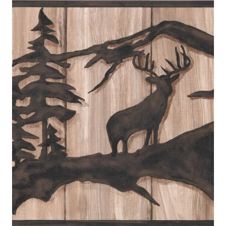 Chocolate Brown Abstract Wild Forest Deer Bear on Beige Faux Wood Wallpaper Border Retro Design, Roll 15' x (Bear Wallpaper Cut Outs)