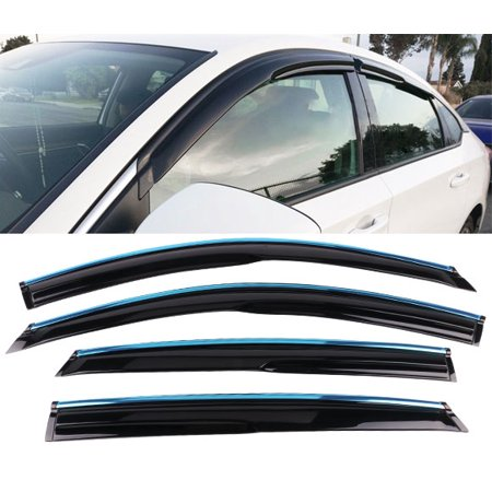 All American Auto Dark Smoke w/ Chrome Trim Acrylic Side Window Deflector/Visor 4-Piece Set for 2018-2019 Honda Accord Sedan - Honda Accord Door Trim