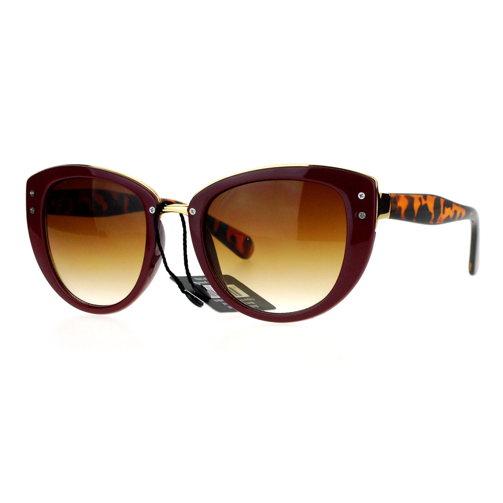 SA106 Metal Brow Oversize Cat Eye Designer Sunglasses Burgundy