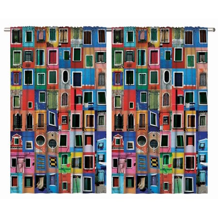 Mediterranean Decor Colorful Windows Burano Italy Venice Tuscan Curtain 2 Panels