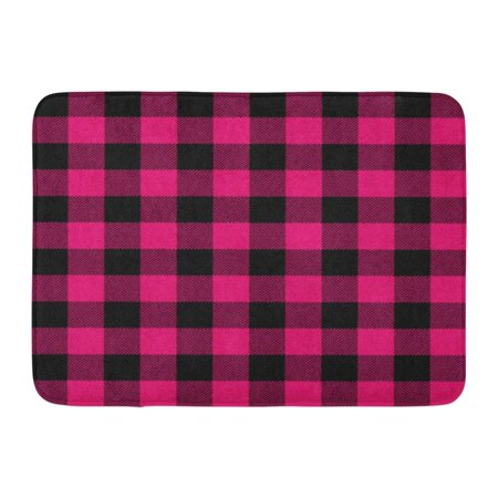 Laddke Autumn Pink Buffalo Plaid Black Bright Cabin Check