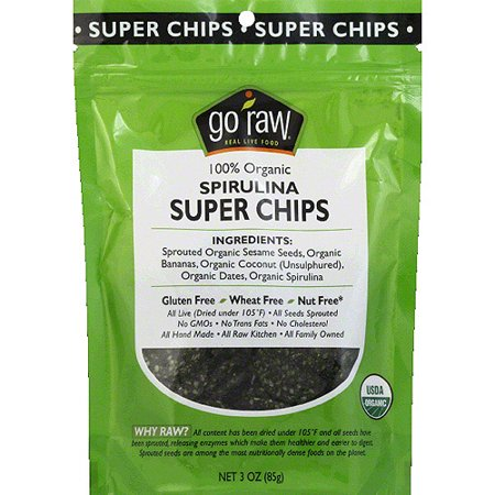 Go Raw 100% Organic Spirulina Super Chips, 3 oz, (Pack of
