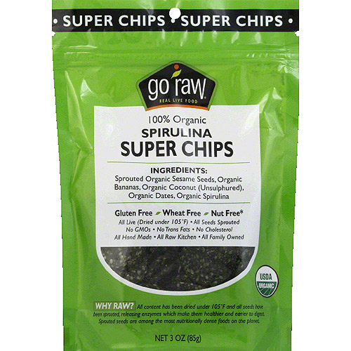Go Raw 100% Organic Spirulina Super Chips, 3 oz, (Pack of 12)