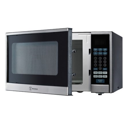 Westinghouse 1.1 cu ft 1000W Countertop Microwave, Black Stainless Steel Westinghouse 1.1 cu ft 1000W Countertop Microwave, Black Stainless Steel: Touch control with green LED display10 power levelsDigital clock/timerPush-button door open1000W Westinghouse microwave6 one-touch quick cook menu buttons (popcorn, potato, pizza, beverage, reheat, frozen food)Weight and speed defrostChild safety lock