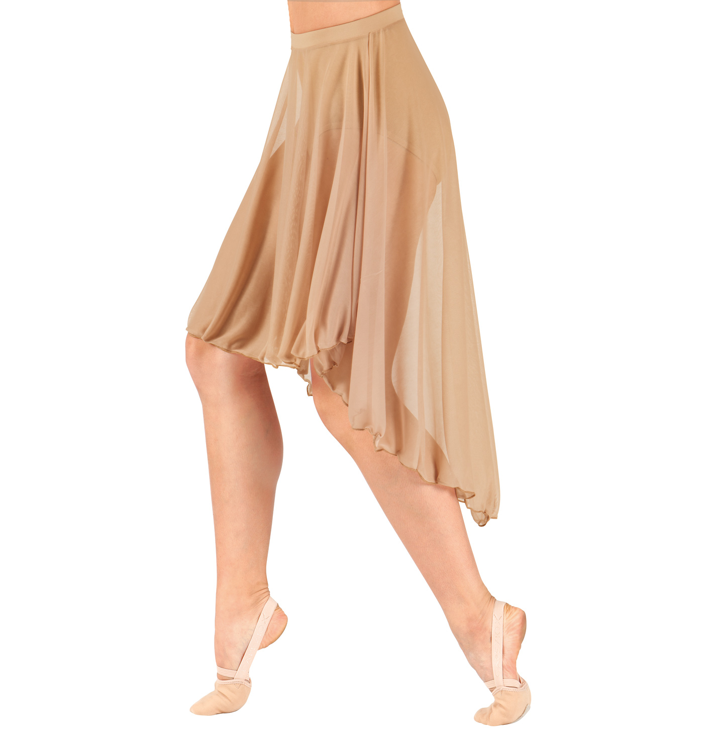 Image of Adult Mid Length High-Low Mesh Dance Skirt