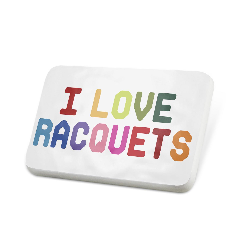 Porcelein Pin I Love Racquets,Colorful Lapel Badge – NEONBLOND