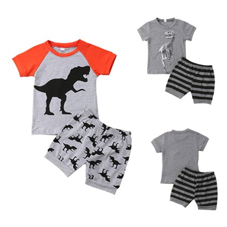 2Pcs Toddler Kids Baby Boy Dinosaur Stripe Tops T-shirt Short Pants Outfit Clothes Sets - Childrens Dinosaur Outfit
