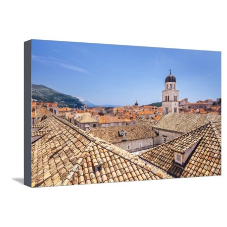 Rooftop view of Franciscan Church, bell tower and Monastery, Dubrovnik Old Town, UNESCO World Herit Stretched Canvas Print Wall Art By Neale Clark