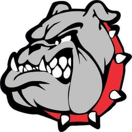 3in x 3in Red Collared Bulldog Mascot Sticker Vinyl School Bumper Stickers - Bulldog Mascot