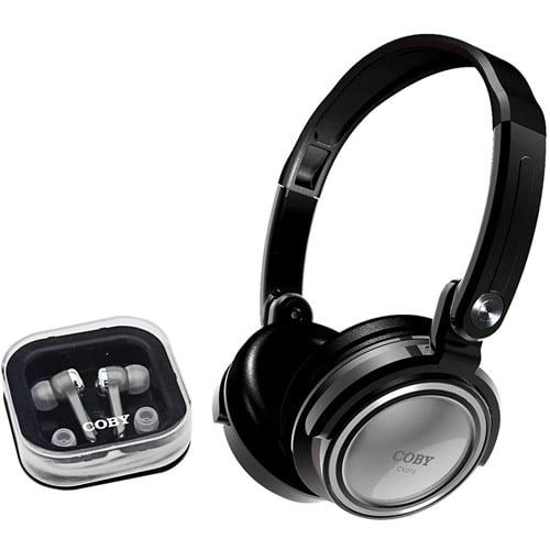 Coby CV215BLK Deep Bass Stereo Headphones and Earphones (Black)