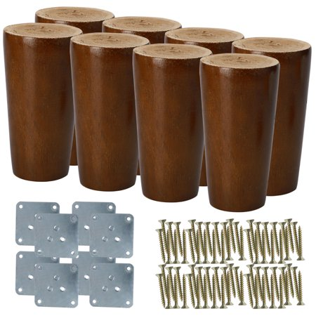 "3"" Wood Furniture Leg Table Bed Desk Feet Round Leg Replacement Set of 8"