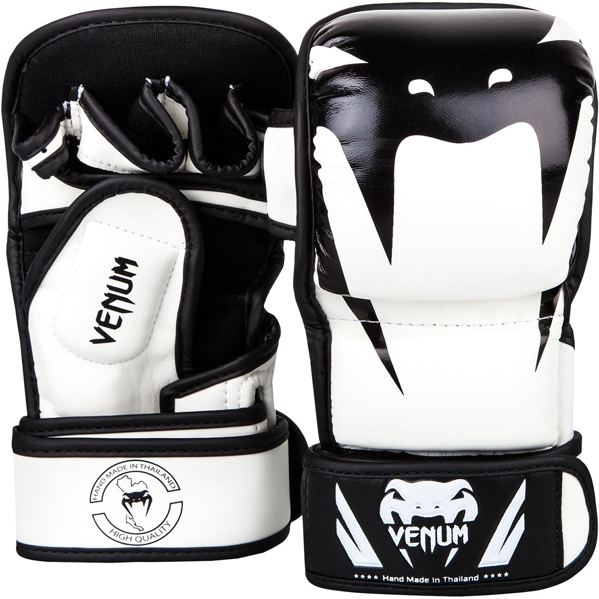 Venum Impact Hook and Loop MMA Sparring Gloves - White/Black