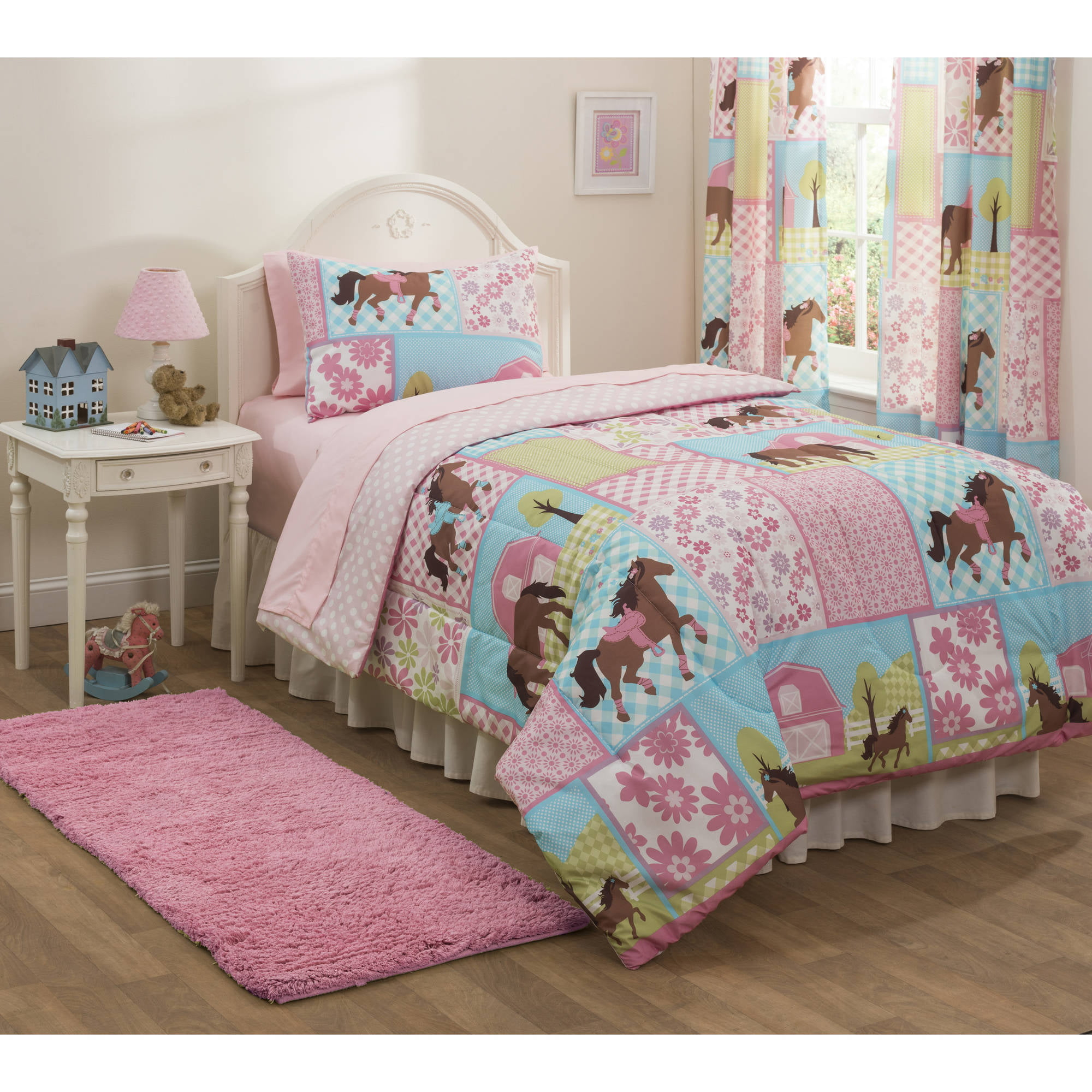 mainstays kids country meadows bed in a bag bedding set walmartcom - Horse Bedding