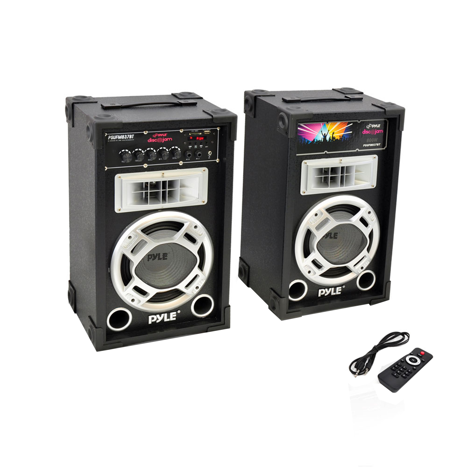 Dual 800 Watt Disco Jam Powered Two-Way PA BT Speaker System w/ USB/SD Card Readers, FM Radio, 3.5 mm AUX Input (Active & Passive Speakers)