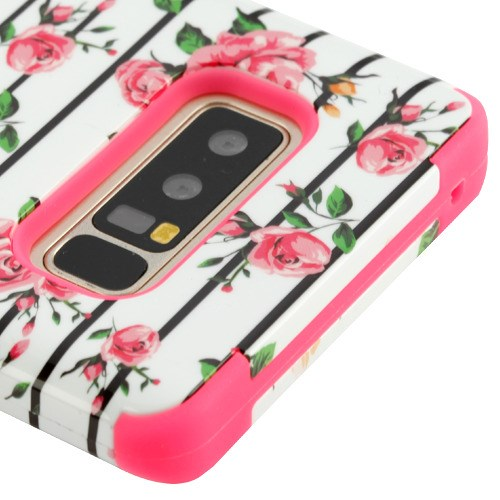Kaleidio Case For Samsung Galaxy Note 8 [TUFF Armor] Impact Protective Hybrid [Shockproof] 3-Piece Dual Layer Rubber Cover w/ Overbrawn Prying Tool [Fresh Pink Flowers]