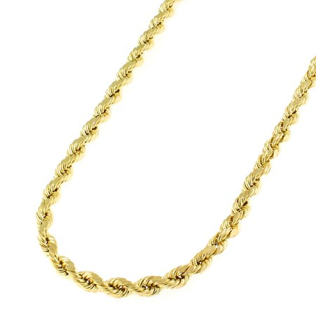 "14K Yellow Gold 3mm Solid Rope Diamond Cut Chain Necklace 16"" - 30"""